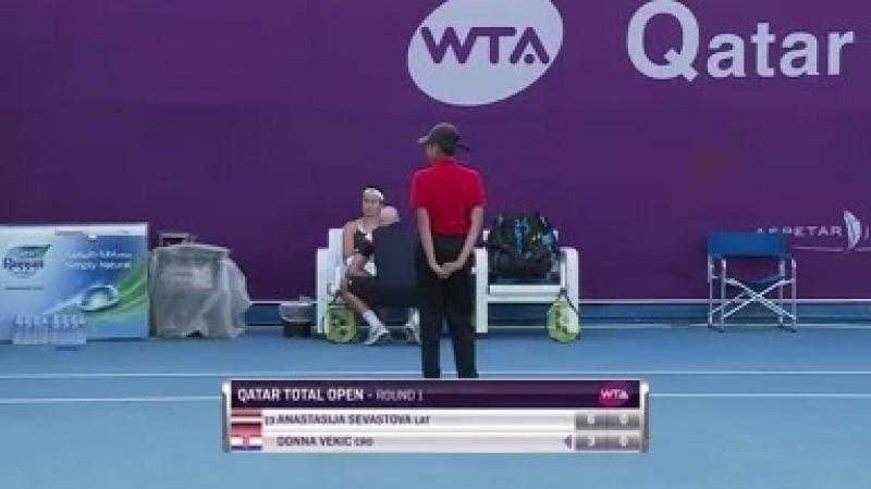 WTA Doha R1 2018 Sevastova vs Vekic