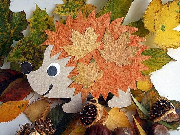 Поделка ёжик с листьями 72