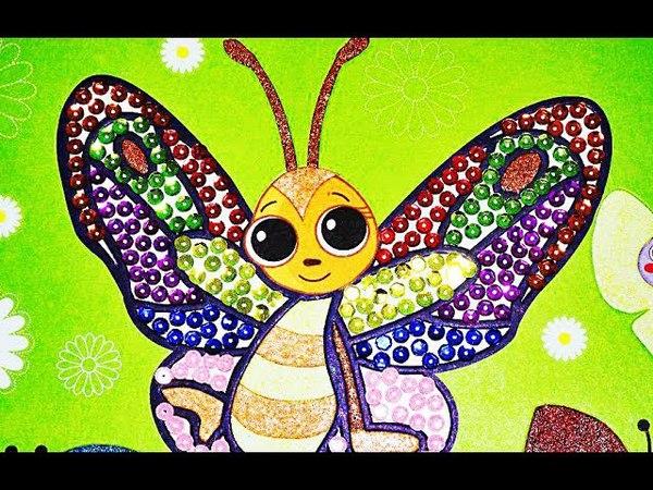 Делаем красивую бабочку из цветного песочка и гвоздиков.