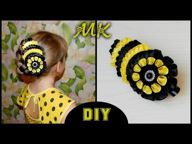 DIY: Большая заколка Канзаши / A large hairpin Kanzashi Moño para niña