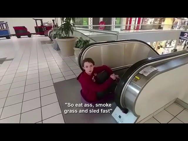 SLED GANG escalator sledding