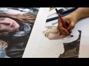 Prismacolor Portrait Timelapse drawing of DAKOTA JOHNSON a k a ANASTASIA STEELE