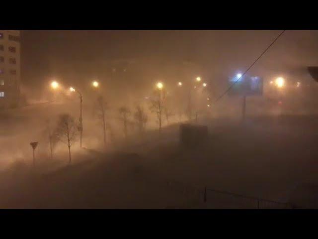 Снегопад с метелью в Магадане. Snowstorm in Magadan Russia 25/11/2017