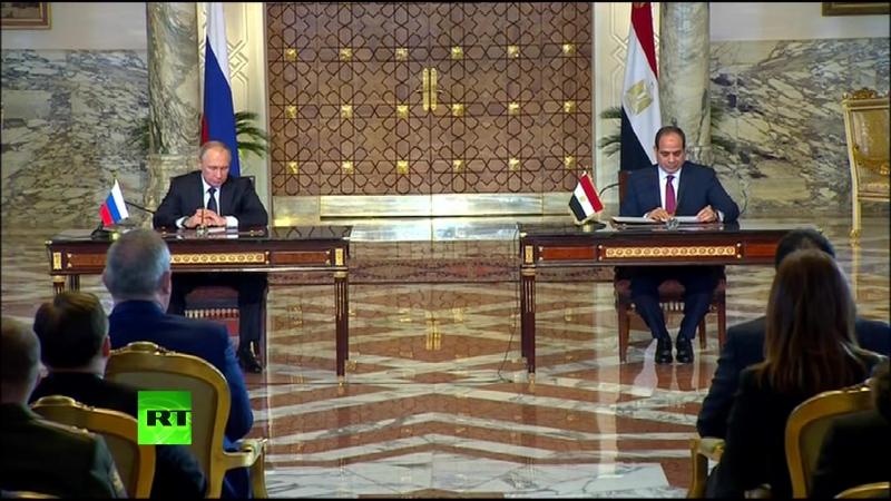 Президент России Владимир Путин и глава Египта Абдель Фаттах ас-Сиси проводят пресс-конференцию по итогам переговоров в Каире.