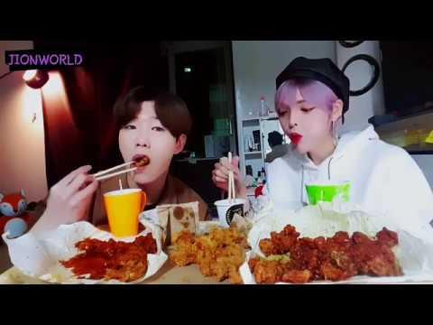 지온월드(JIONWORLD)- 엔티크(N.tic)지온노랑통닭 3종세트 후라이드 양념 깐풍 치킨 먹방