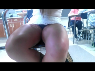 Sexy Blonde Teen Sitting Down With Fine Legs in Skirt (short video)