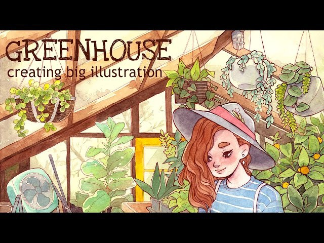 Creating big illustration || Watercolor drawing GREENHOUSE