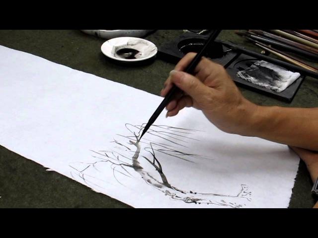 MVI_1461.MOV山水國畫教學─王太田老師國館班現場示範山柳樹畫法及著色技巧1