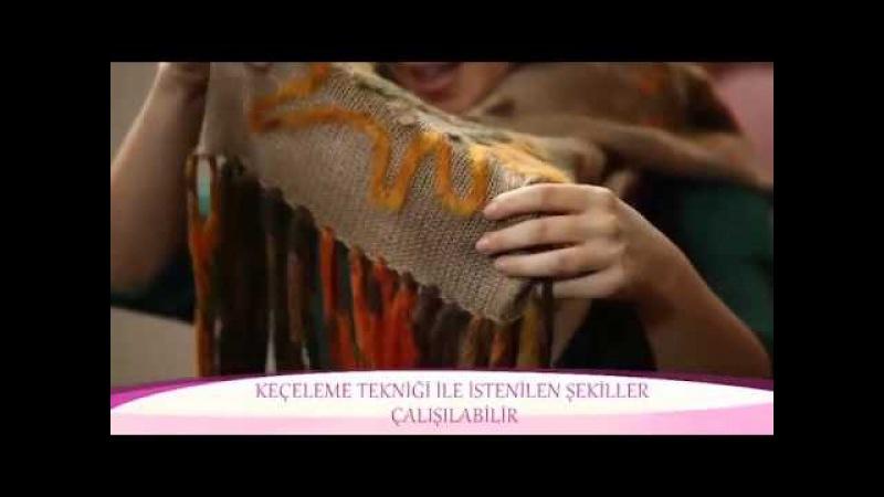 Alize Angora Gold ve Alize Country ile Keçe Tekniği Şal Yapımı-Making Felting Technique Shawl