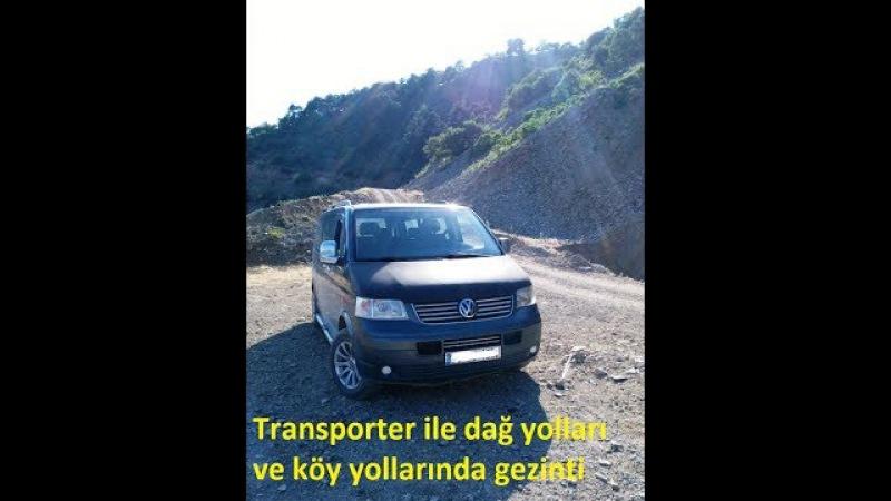 VW Transporter araç kamerasından dağ ve köy yolları manzaraları