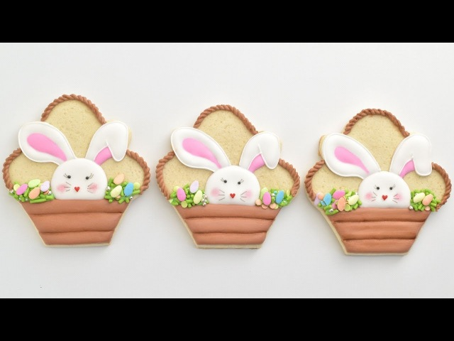 EASTER BUNNY BASKET COOKIES by HANIELA'S