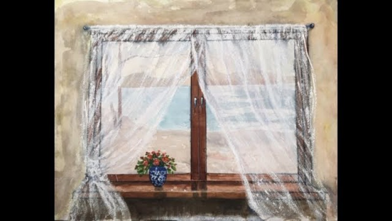 тат бейк=Вид из окна,Часть2. Акварель Гуашь. Window in watercolour gouache