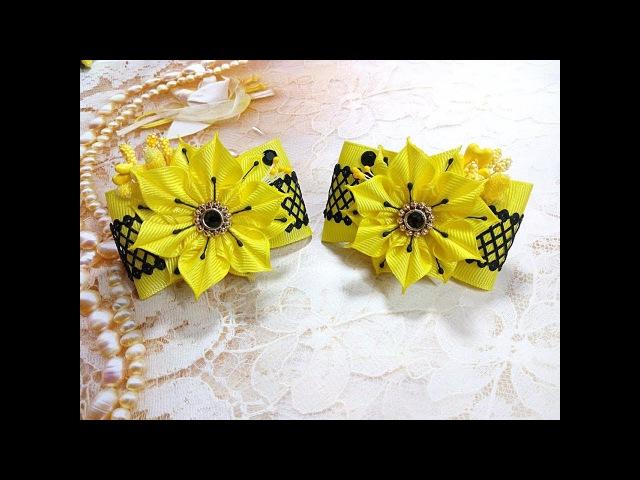 Яркие бантики резинки из лент канзаши МК / hair clips ribbon kanzashi DIY