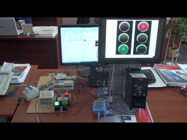 TECO SG2 Параллельная работа светофоров c выводом на панель оператора Weintek
