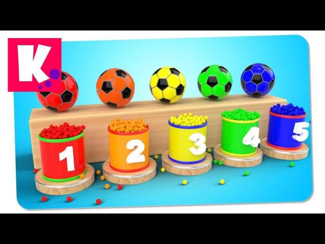 Футбольные Мячи и Цветные Шарики. Учим Цвета и Цифры от 1 до 5   Сборник Декабрь 2017   Multi Kids