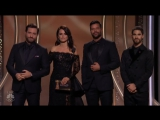 Darren Criss, Edgar Ramirez, Ricky Martin and Penelope Cruz present at the Golden Globes 2018