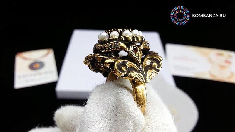 Кольцо Maurizio Mori с жемчугом гранатом и кристаллами Премиум бижутерия их Италии Флоренция