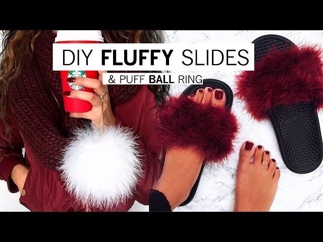 DIY Fluffy Slides Puff Ball Ring Alyssa Forever