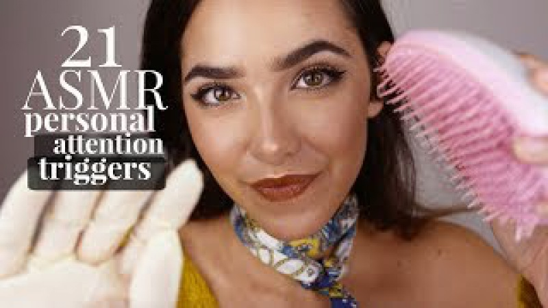 ASMR 21 Personal Attention Triggers (Scalp massage, Haircut, Wet sounds, Face brushing, kisses..)