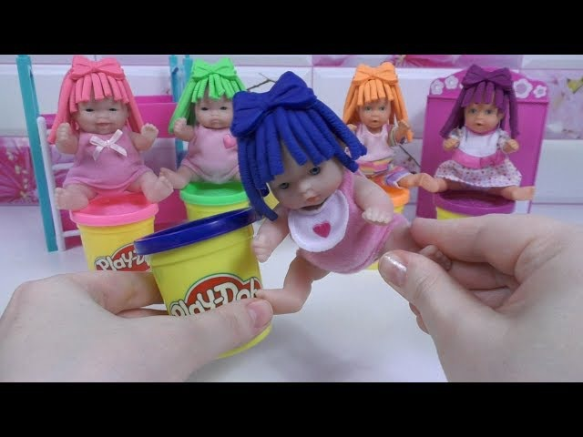 DollsBabiesLearn Colors in English for Children ❤ Play Doh Colored Hairstyles Учим Цвета 🔔 BLT TV