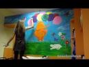 Роспись на стене Оранжевый слон