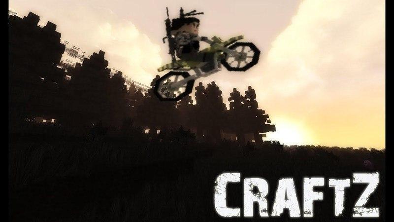Minecraft DayZ: Полеты каскадера на мотике.