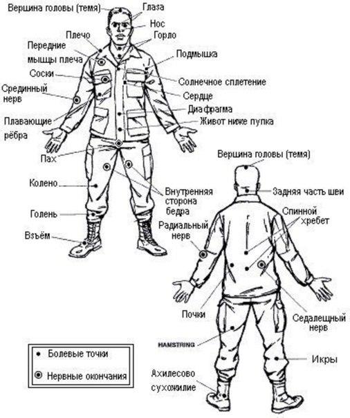 Болевые точки на теле человека спецназ