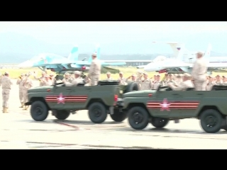 Военный парад в ознаменование 73-й годовщины победы в Великой Отечественной войне на авиабазе Хмеймим