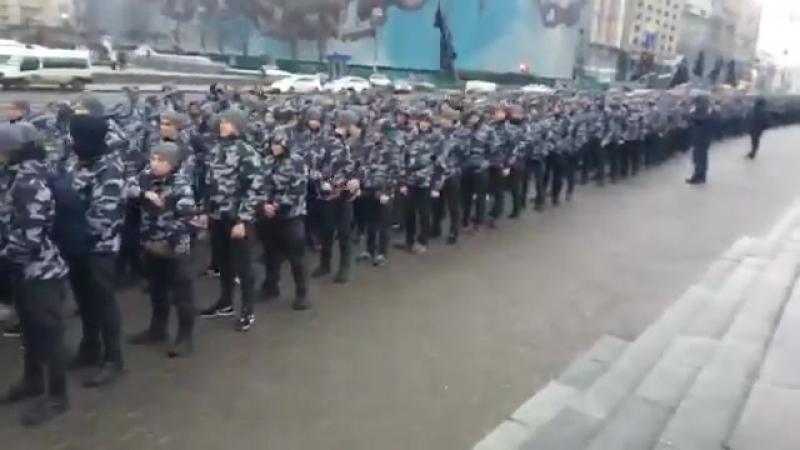 Киев 28 января 2018 Присяга и марш национальных дружин Билецкого на майдане