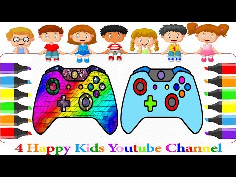 How to Draw Gamepad, Controller, Coloring Book for Children Art Colours for Kids|4 Happy Kids