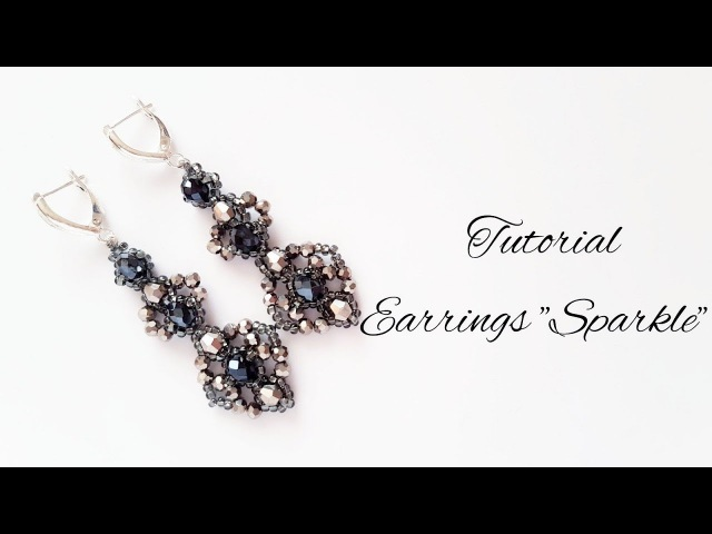 МК - Серьги Sparkle из бисера | Tutorial - Earrings Sparkle beaded