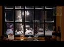 Расслабляющий снег за окном под звуки камина