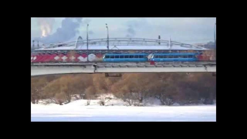 Зимняя река Москва и трамваи Tatra-3 (МТТА) следуют по Строгинскому мосту!