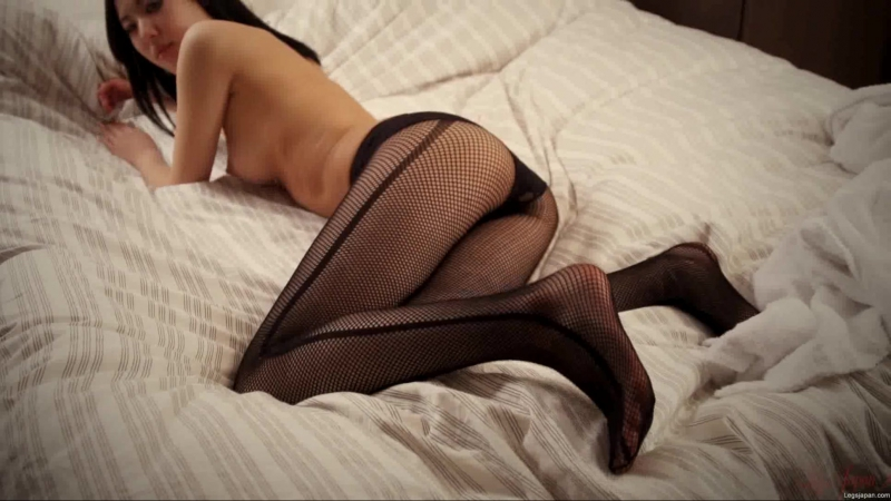 Japan girl sexy putting on fishnet pantyhose and tease in them