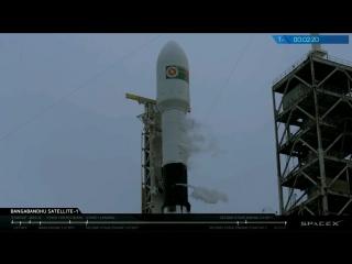 Пуск, вывод на орбиту и возвращение первой ступени РН SpaceX Falcon 9 Block 5 со спутником Bangabandhu-1