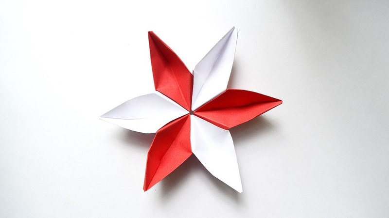 How to make a FLOWER SAKURA ORIGAMI Modules out of red and white paper Tutorial DIY