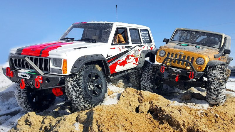 Adventures in the Snowy Mountains Crawling, Winching — RC Cars Jeep Cherokee and Rubicon Axial SCX10