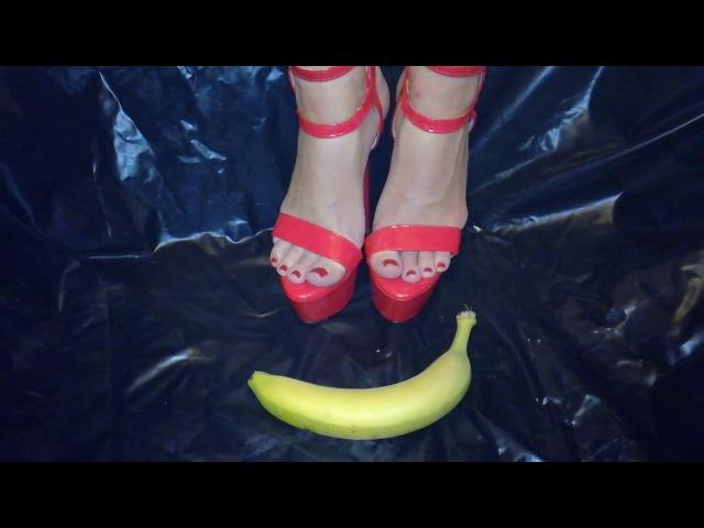 Banana crush with hot red high heels food crush