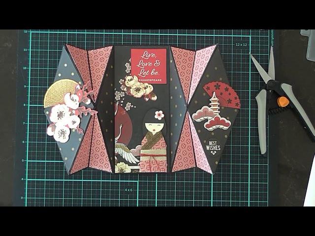 Double Diamond Fold Card Geisha Girl