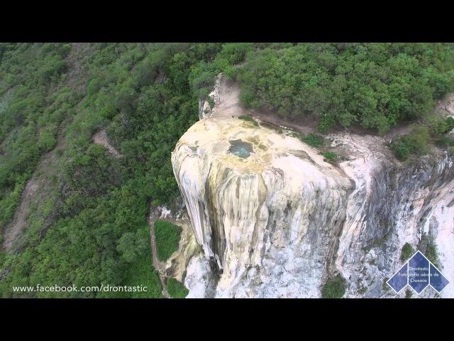 Hierve el Agua desde el aire a vuelo de Dron, Oaxaca, México cascadas petrificadas
