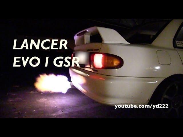 Mitsubishi Lancer EVO I GSR - LOUD rev limiter, FLAMES etc