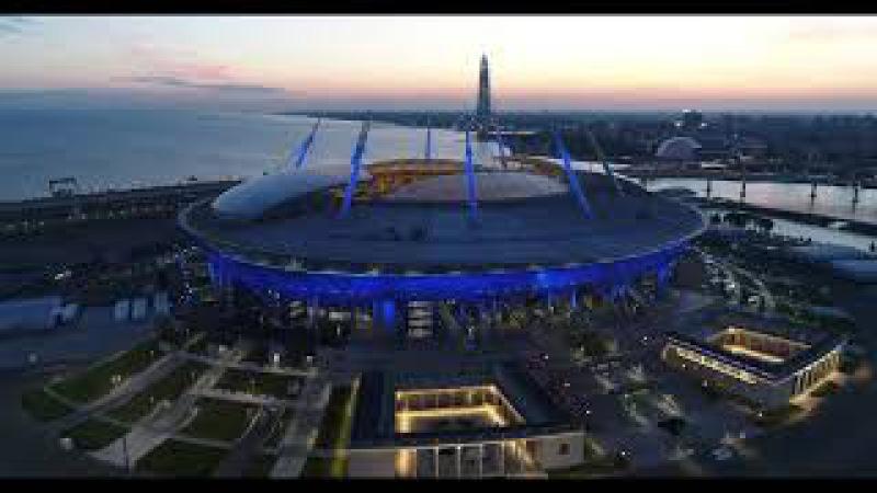 Вечерний Петербург. Полёт над стадионом Зенит Арена. Закат на финском заливе.