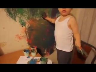 нарисовал машинку на кухне