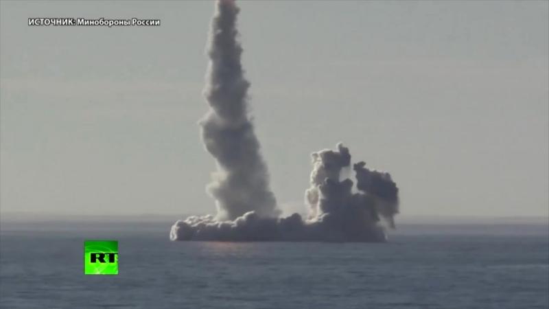 Минобороны опубликовало видео запуска ракет «Булава» с подводного крейсера «Юрий Долгорукий» — РТ на русском
