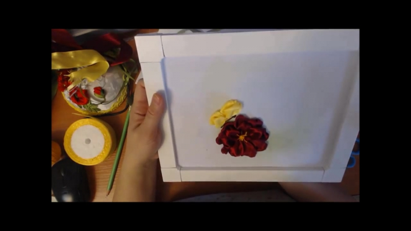 Ч-1.С чего начинать вышивку лентами, как тонировать фон, прямой стежок, вышиваем пышный цветок и бабочку 1ч/ Алсу Галимова