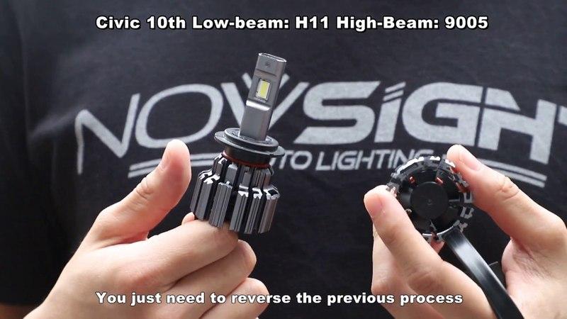 Civic 10th: How to modify originally H11 halogen bulbs to LED headlights for high brightness?