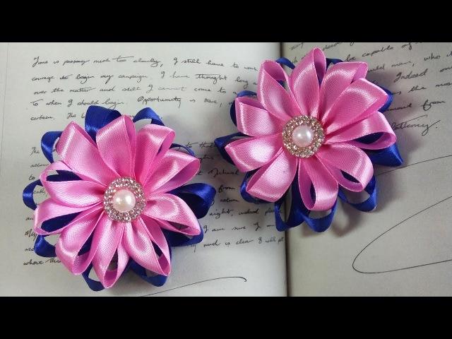 Цветочек канзаши из лент 1 2см Kanzashi ribbons flowers Flor Kanzashi hecha de cintas