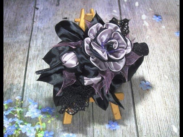 Заколка канзаши для жещины или девушки DIY hair ornament from satin ribbons