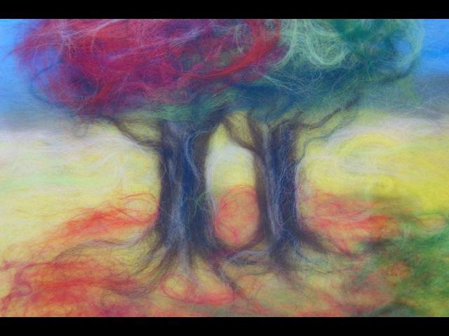 Мое рукоделие Ловец снов Картина из шерсти Колпак из флиса Паук из проволоки Панно из дерева гвоздей