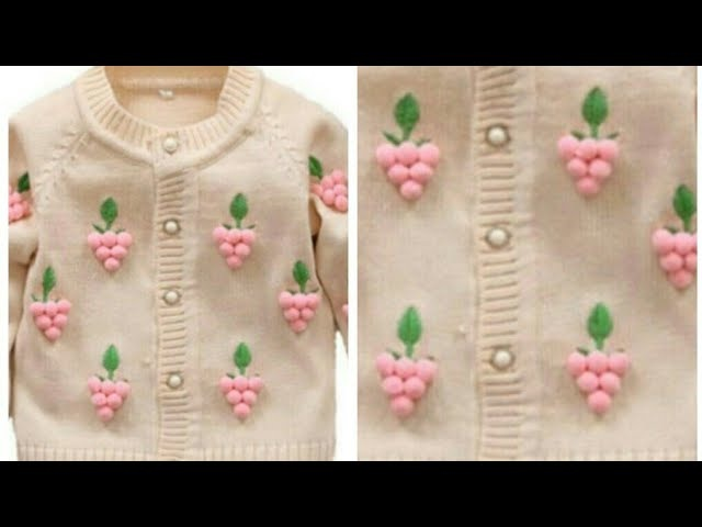 Cardigan Design for 10-15 years of Kids/Pom Pom Sweater Design/Embroidery on Sweater:Design-131